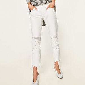 White jeans with faux pearls from ZARA